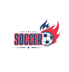 soccer ball fire football team club icon vector image