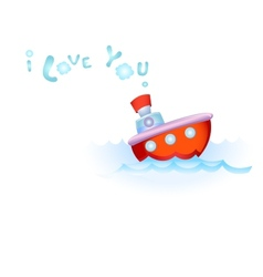 Steamship in love vector