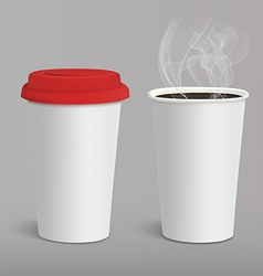 Take-out coffee in cardboard closed and opened cup vector