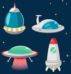 UFO Spaceship Cartoon Design Set vector image vector image