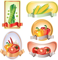 vegetables labels vector image vector image