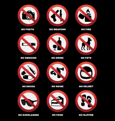 Warning signs for pub and restaurant vector image vector image