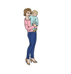 Woman and her baby vector