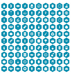 100 nutrition icons sapphirine violet vector image vector image