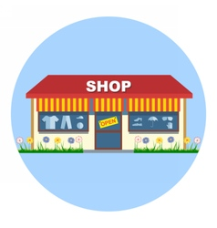 Digital shop storefront with open sign vector