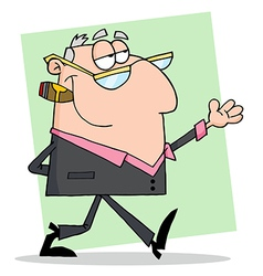 Businessman walking and shows vector