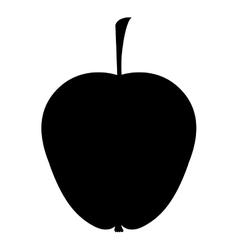 Silhouette monochrome of apple with stem vector