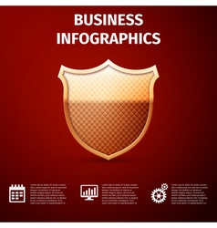 Business infographics icon Gold shield icon vector image