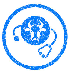 Cow veterinary rounded grainy icon vector