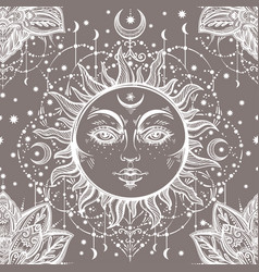 Beautiful floral paisley sun face pattern vector