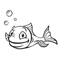 Black and white cartoon fish vector
