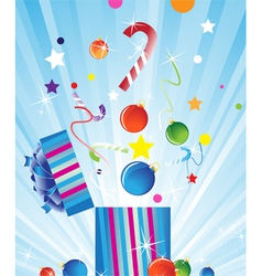 Gift box and christmas decorations vector