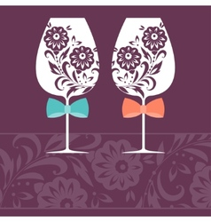 Romantic card with two glasses vector