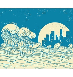 Big waves in night poster on old paper textu vector