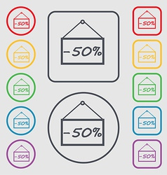 50 discount icon sign symbol on the round and vector