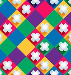 Seamless pattern from paper crosseson a colored vector