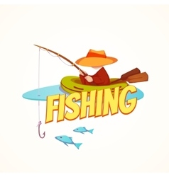 Fisherman in the boat vector