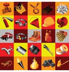 Great set of fire equipment 25 elements vector