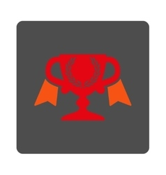 Prize cup rounded square button vector