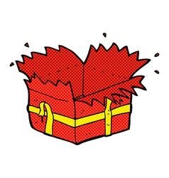 Comic cartoon open present vector