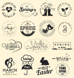 Spring badges and typography elements vector