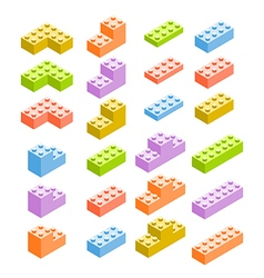 Different color constructor blocks isolated on vector