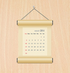 August2014 calendar on wood wall vector