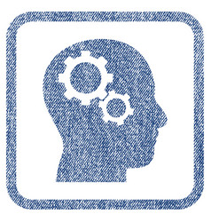 Brain gears fabric textured icon vector
