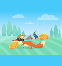 cunning fox thief stealing vector image