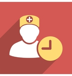 Doctor Hours Flat Square Icon with Long Shadow vector image