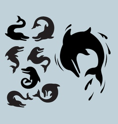 Dolphin Silhouette Symbols vector image vector image