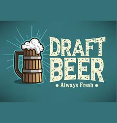 draft beer logo label design with wooden mug or vector image vector image