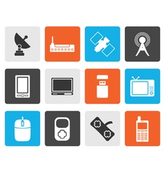 Flat technology and communications icons vector