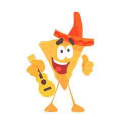 funny cartoon mexican nachos chip character vector image vector image