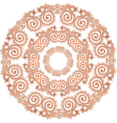 Hand drawn round floral frame vector