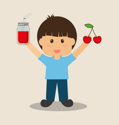 happy boy holding cherry and juice vector image
