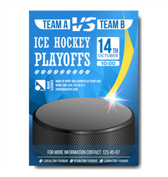 ice hockey poster design for sport bar vector image vector image