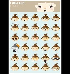 Little girl emoji icons vector