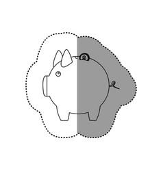 monochrome contour sticker of money box in shape vector image