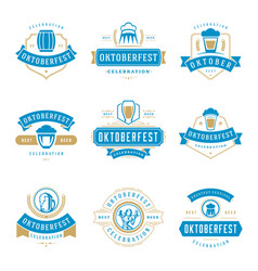 oktoberfest celebration beer festival labels vector image