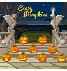 Porch with stone figures of dragons and pumpkins vector