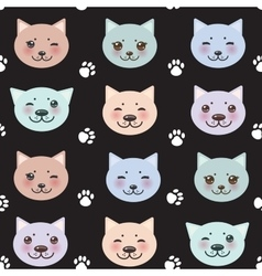 Seamless pattern funny cat muzzle and paw prints vector