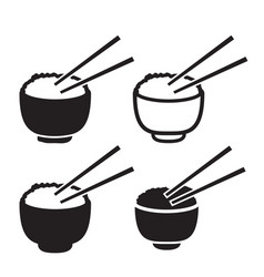 Set of bowl of rice with pair of chopsticks icon vector
