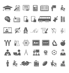 Set of school and education flat icons vector