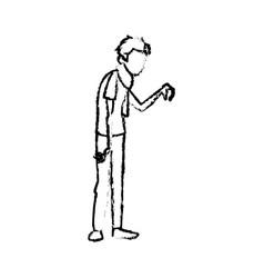 Sick man character handkerchief in hand vector