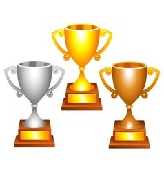 Trophy cups vector image vector image