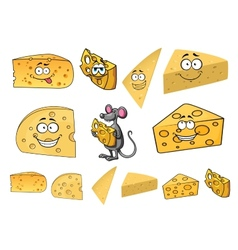 Wedges of happy cartoon cheese with a mouse vector image