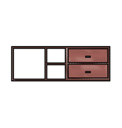 wooden cabinet and shelf furniture empty vector image
