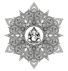 Zentangle stylized round indian mandala with hindu vector