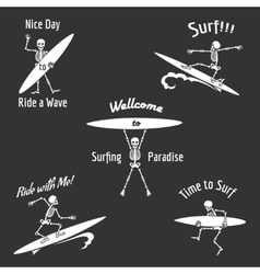 Skeleton surfer vector image